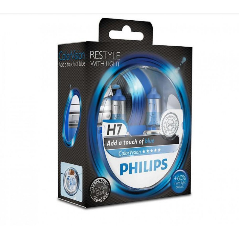 Фото Philips H7 ColorVision Blue 3350K 2шт/блистер 12972CVPBS2